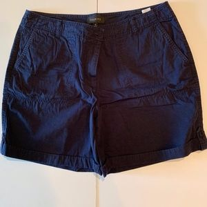 TALBOTS Navy Blue Cargo Short Size 14 100% Cotton